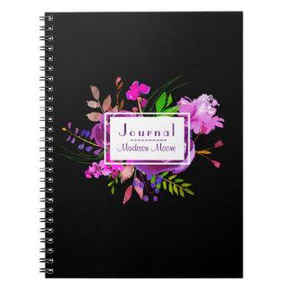 Purple Watercolor Floral Bouquet Journal/ Notebook