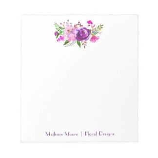 Purple Watercolor Floral Bouquet Notepad