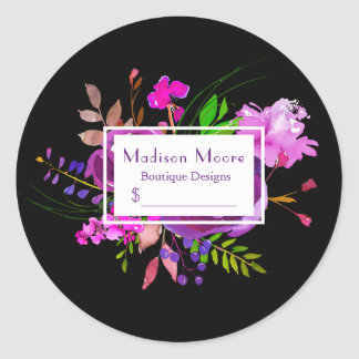 Purple Watercolor Floral Bouquet Price Classic Round Sticker
