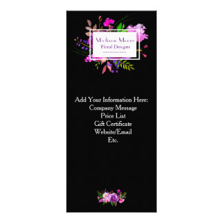 Purple Watercolor Floral Bouquet Rack Card
