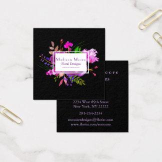 Purple Watercolor Floral Bouquet Square Business Card