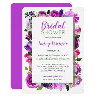 Purple Watercolor floral mix bridal shower invite