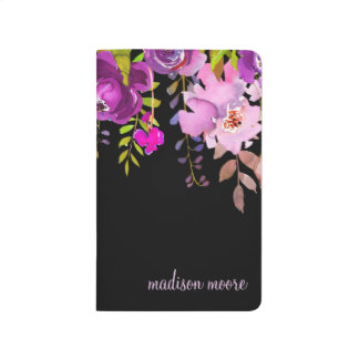 Purple Watercolor Floral Name Personalized Journal