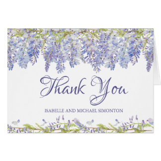 Purple Watercolor Floral Personalized Thank You Card