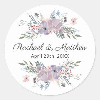Purple Watercolor Floral Wedding Favour Classic Round Sticker