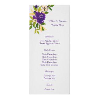 Purple Watercolor Floral Wedding Menu Rack Card