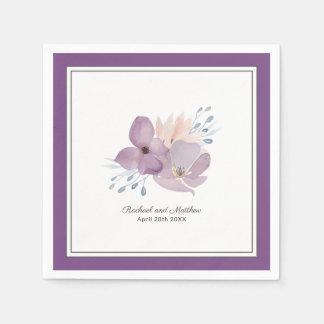 Purple Watercolor Floral Wedding Paper Napkin