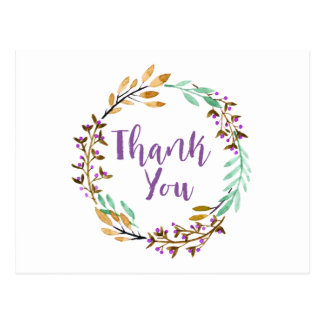 Purple Watercolor Floral Wreath Thank You Postcard
