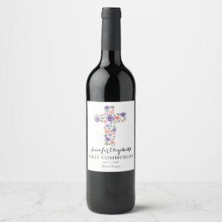 Purple Watercolor Flower Cross First Communion Wine Label