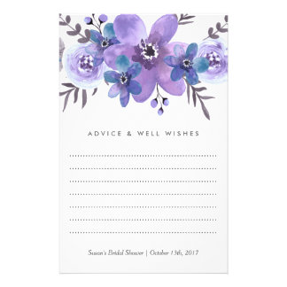 Purple Watercolor Flowers Advice Cards