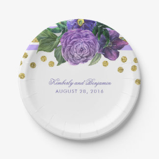 Purple Watercolor Flowers and Gold Confetti Modern Paper Plate