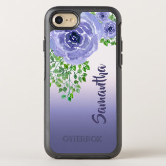 Purple Watercolor Flowers and Greenery OtterBox Symmetry iPhone 8/7 Case