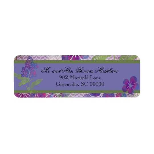 Purple Watercolor Flowers Custom Address Labels