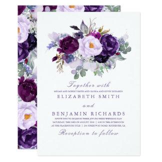 Purple Watercolor Flowers Elegant Wedding Card