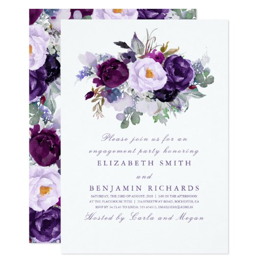 Purple Watercolor Flowers Engagement Party Card