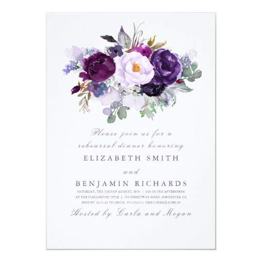 Purple Watercolor Flowers Rehearsal Dinner Card
