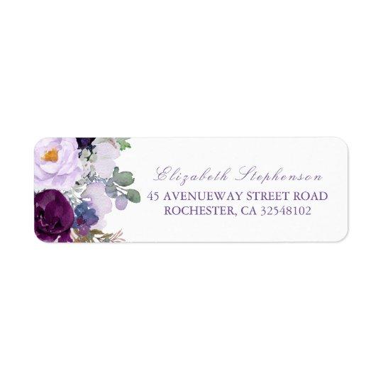 Purple Watercolor Flowers Return Address Label