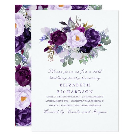 Purple Watercolor Flowers Romantic Birthday Party Card