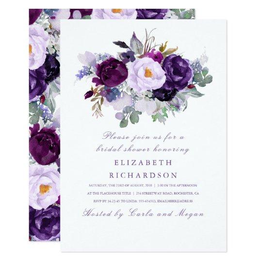 Purple Watercolor Flowers Romantic Bridal Shower Card