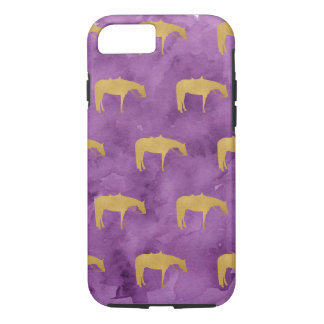 Purple Watercolor Golden Texture Western Horse iPhone 7 Case