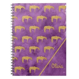 Purple Watercolor Golden Texture Western Horse Notebook