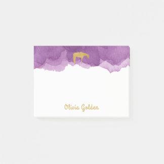 Purple Watercolor Golden Texture Western Horse Post-it® Notes