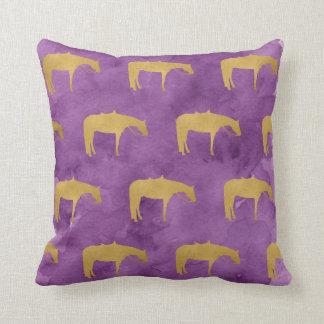 Purple Watercolor Golden Texture Western Horse Throw Pillow