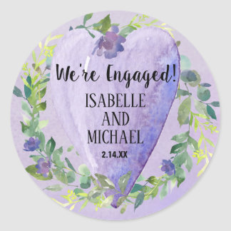 Purple Watercolor Heart and Flowers Engagement Classic Round Sticker