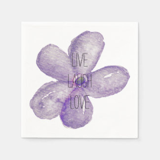 Purple Watercolor Live Flower Paper Napkin