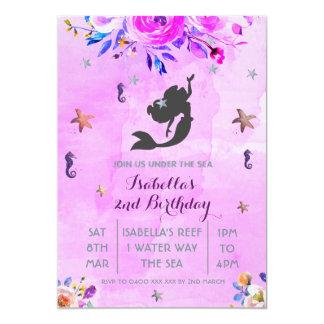 Purple Watercolor mermaid birthday girl invitation
