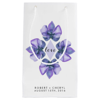 Purple Watercolor Orchid Wedding Gift Bag
