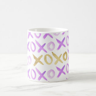 purple watercolor paint gold xoxo typography girly coffee mug