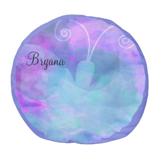 Purple Watercolor Pastel Butterfly Personalized Pouf