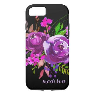 Purple Watercolor Peony Bouquet iPhone 8/7 Case