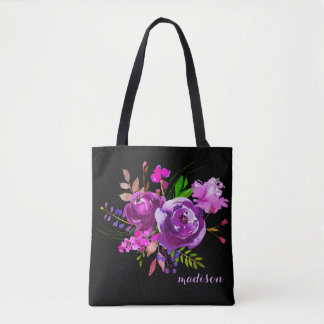 Purple Watercolor Peony Bouquet Tote Bag