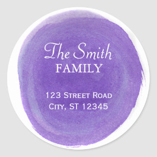 Purple Watercolor Return Address Round Sticker