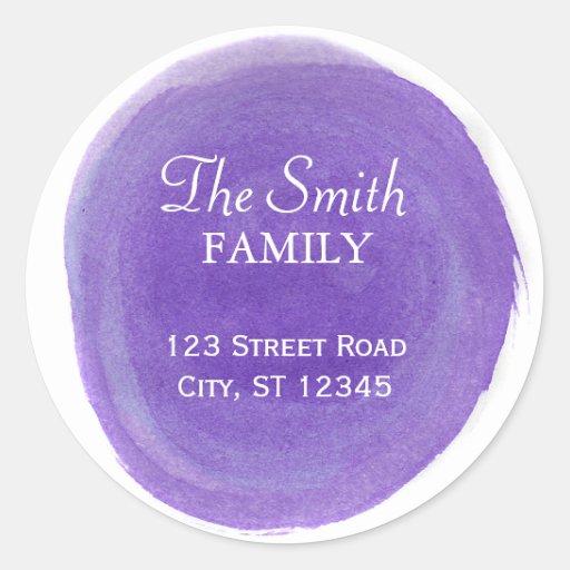 Purple Watercolor Return Address Round Sticker