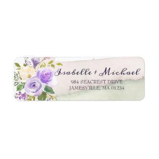Purple Watercolor Roses Return Address Label