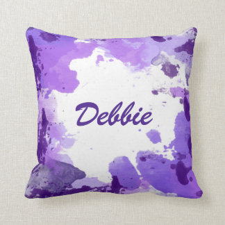 PURPLE WATERCOLOR SPLASH Abstract Pillow