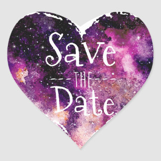 Purple Watercolor Starry Sky Save the Date Heart Sticker