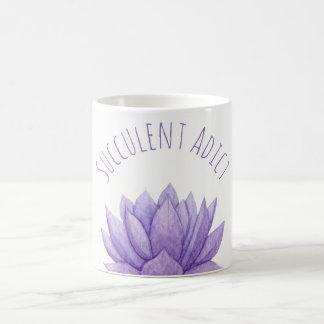 Purple Watercolor Succulent Coffee Mug