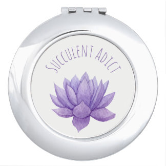 Purple Watercolor Succulent Compact Mirror