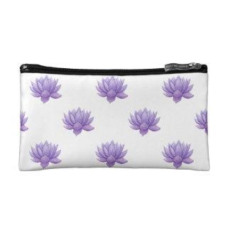 Purple Watercolor Succulent Cosmetic Bag