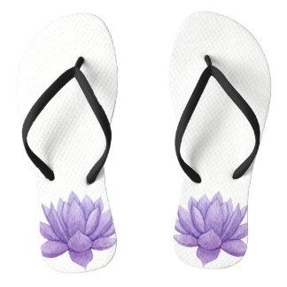 Purple Watercolor Succulent  Flip-Flops Flip Flops