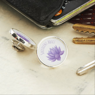 Purple Watercolor Succulent Lapel Pin