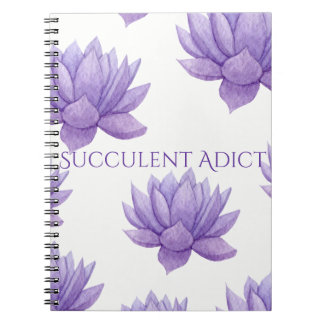 Purple Watercolor Succulent Notebook