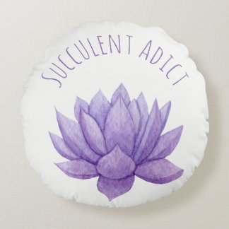 Purple Watercolor Succulent Round Pillow
