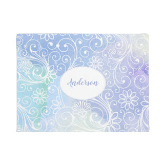 Purple Watercolor swirl, modern, winter door mat