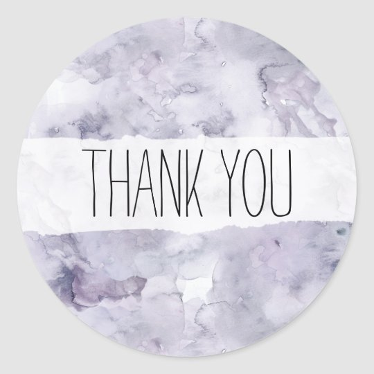 Purple Watercolor Thank You Sticker