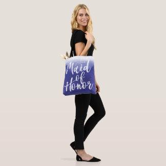Purple Watercolor Wash Ombre Maid of Honor Tote Bag